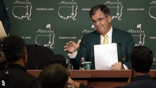 Chairman of Augusta National Golf Club Billy Payne responds to a question during a news conference before the Masters golf tournament