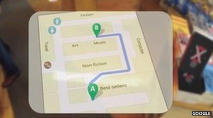 Google glasses shows map of shop