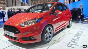 The new Ford Fiesta ST on display at the Geneva Motor Show
