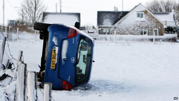 Overturned car in County Durham