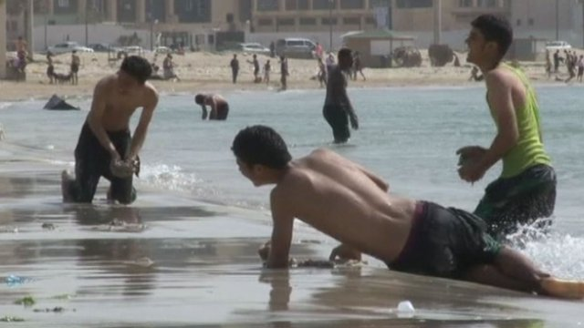 Young Libyans on a beach