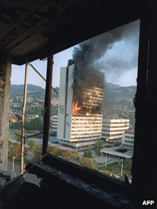 Former parliament building on fire in Sarajevo, 1992