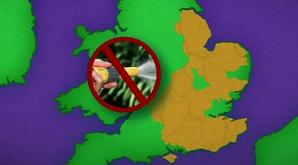 Graphic of areas in England hit by hosepipe ban