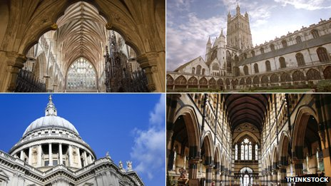 (Clockwise) Vaulted ceiling of Exeter Cathedral; Gloucester Cathedral; St Paul's Cathedral in M​​​​elbourne, Australia; St Paul's Cathedral in London