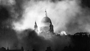 St Pauls Cathedral engulfed in smoke during attacks of the German Luftwaffe on London in 1940