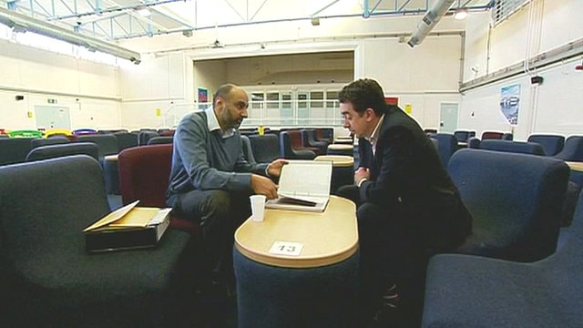 Barbar Ahmad speaks to BBC reporter Dominic Casciani