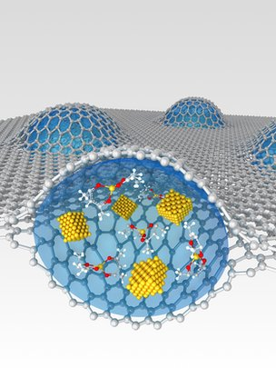 Graphene sheet and liquid capsule - artist&#039;s impression