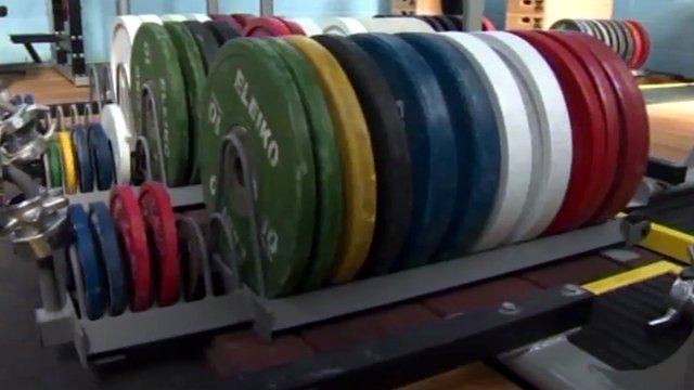 Weights at the Holyhead weightlifting club
