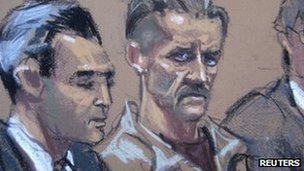 Viktor Bout (centre) shown in a courtroom illustration in New York, 5 April