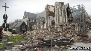 Earthquake-damaged Christchurch Cathedral in New Zealand