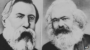 Undated composite photo of Karl Marx (right) and Friedrich Engels (left)