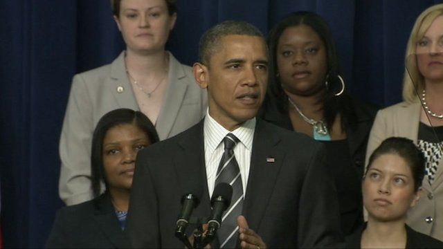 US President Barack Obama addresses a women's forum at the White House, 6 April 2012