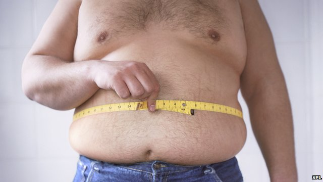 Obese man measures his waist
