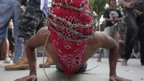 Penitent wears crown of barbed wire during Good Friday rituals, Bulacan province, Philippines (6 April)
