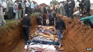 A picture released on April 6, 2012, by the opposition Local coordination Committees in Syria (LCC) purportedly shows people standing around a mass grave in the town of Taftnaz, Syria, 5 April 2012
