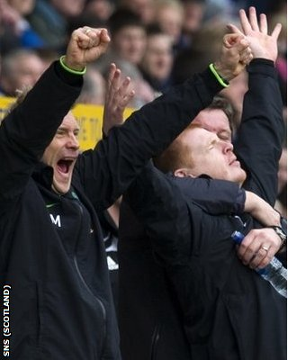 Lennon (right) and his backroom staff celebrated early at Rugby Park