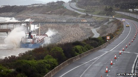 The grounded ship, close to the main A55 coast road - pictured on Thursday