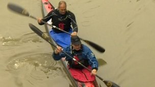 Sir Steve Redgrave setting off on canoe race