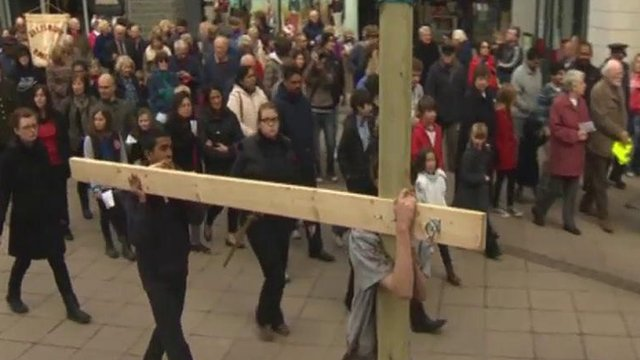 The Passion enactment in Wrexham