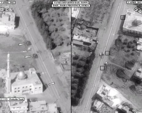 Satellite photos published by the US Ambassador to Damascus, Robert Ford