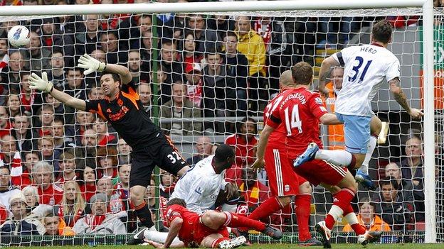Chris Herd scores for Aston Villa at Liverpool