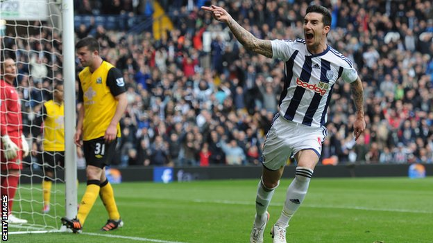 Liam Ridgwell scores West Brom's third