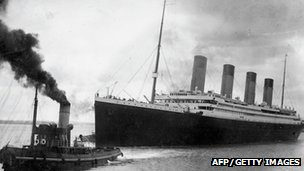 The Titanic departing on her ill-fated maiden voyage from Southampton on 10 April 1912