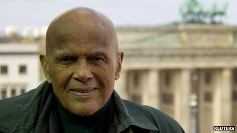 Harry Belafonte pictured on a visit to Germany with Unicef last month