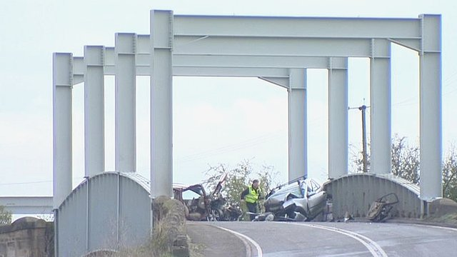 Scene of the crash in East Yorkshire