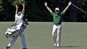 Louis Oosthuizen celebrates his albatross on the second