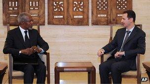 Kofi Annan and Bashar al-Assad in Damascus (10 March 2012)