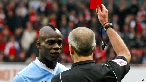 Balotelli being shown a red card