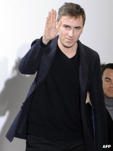 Belgian designer Raf Simons after the Jil Sander Fall-Winter 2010-2011 Menswear collection (January 2010)