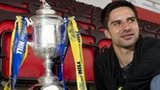 Aberdeen striker Rory Fallon poses with the Scottish Cup
