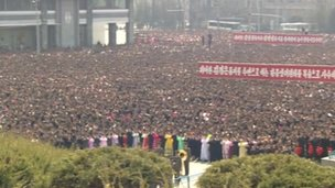 Crowd of North Koreans, Pyongyang 9 April 2012