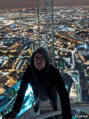 Man on top of Shard