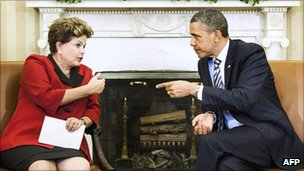 US President Obama and Brazil's Dilma Rousseff meeting at the White House