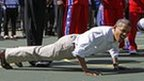 President Obama does press-up