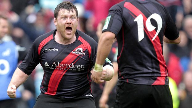 Edinburgh prop Alan Jacobsen celebrates victory over Toulouse