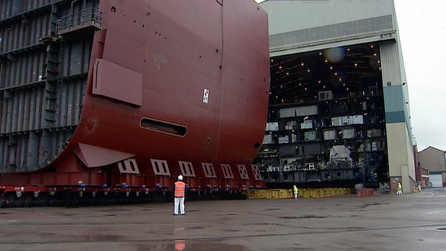 Hull section of the HMS Queen Elizabeth being moved