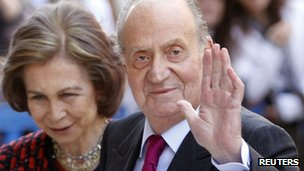 King Juan Carlos and his wife Queen Sofia at Easter mass in  Palma de Mallorca on 8 April 2012