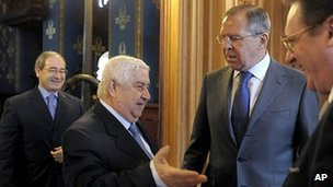 Russian Foreign Minister Sergei Lavrov with his visiting Syrian counterpart, Walid Muallem, on 10 April 2012