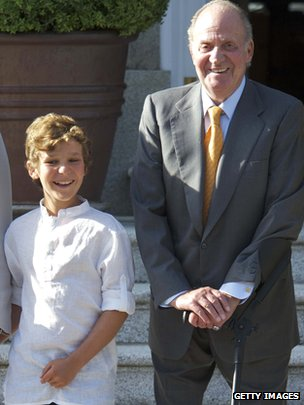 Felipe Juan Froilan (left) with King Juan Carlos in Madrid in August 2011