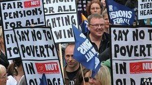 NUT placards at demonstration