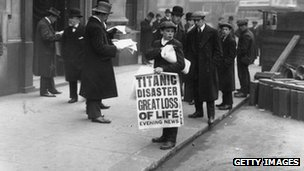 Newspaper boy outside White Star Line offices in London