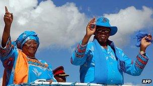 Joyce Banda campaigning with Bingu wa Mutharika