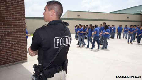 Police officer at a school in Pharr, Texas