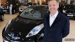 Nissan Leaf owner, Mark Goodier, with one of the cars