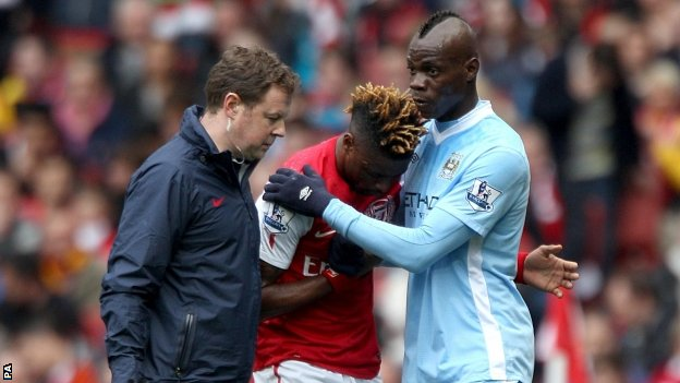 Alexandre Song and Mario Balotelli