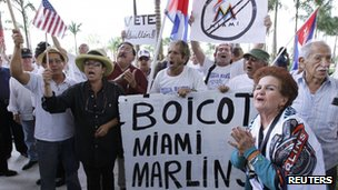 People demonstrate outside Marlins Park in Miami, Florida (April 10, 2012)